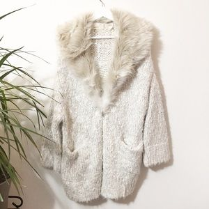 Sleeping on Snow Faux Fur Chunky Knit Cardigan